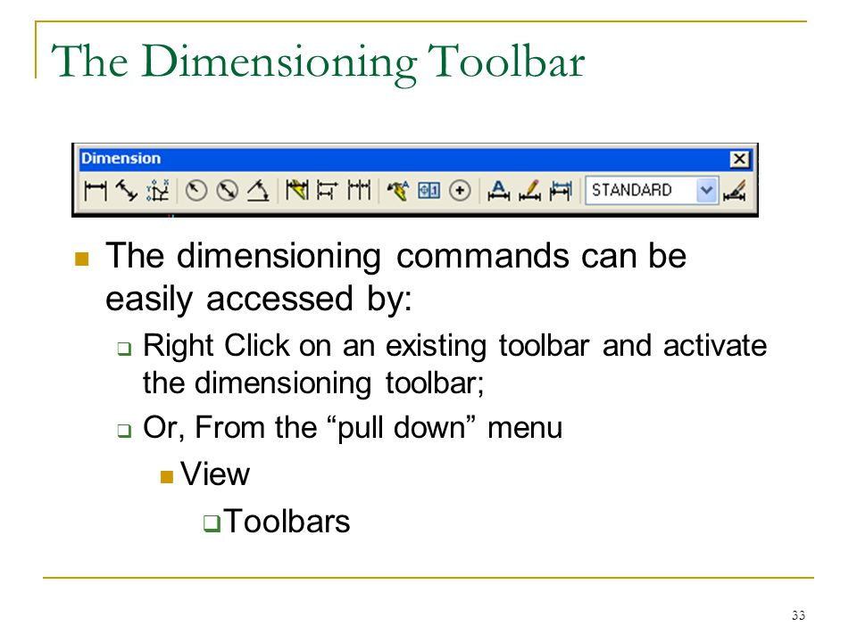 The Dimensioning Toolbar