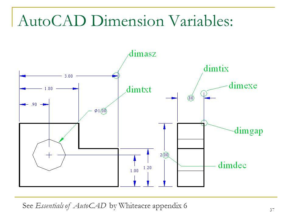 AutoCAD Dimension Variables: