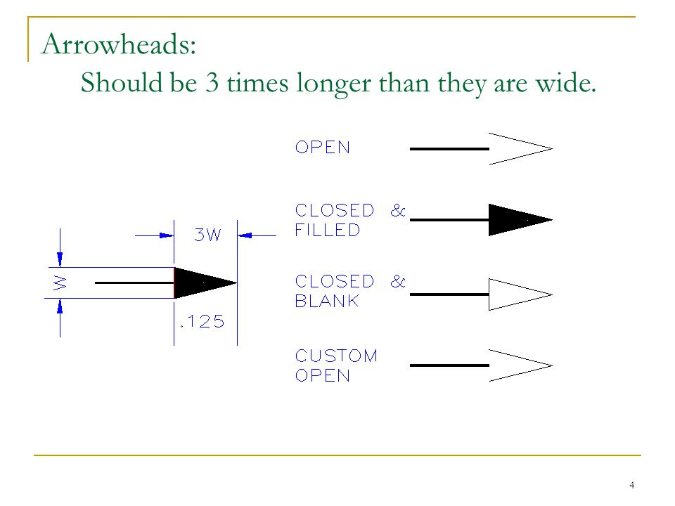 Arrowheads: Should be 3 times longer than they are wide.