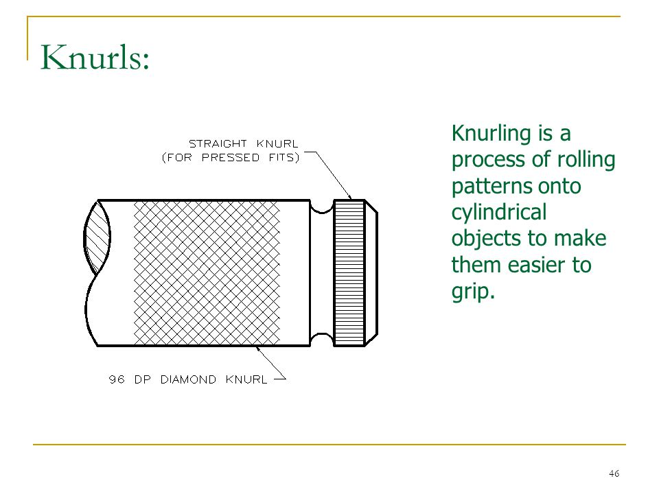 Knurls: Knurling is a process of rolling patterns onto cylindrical objects to make them easier to grip.