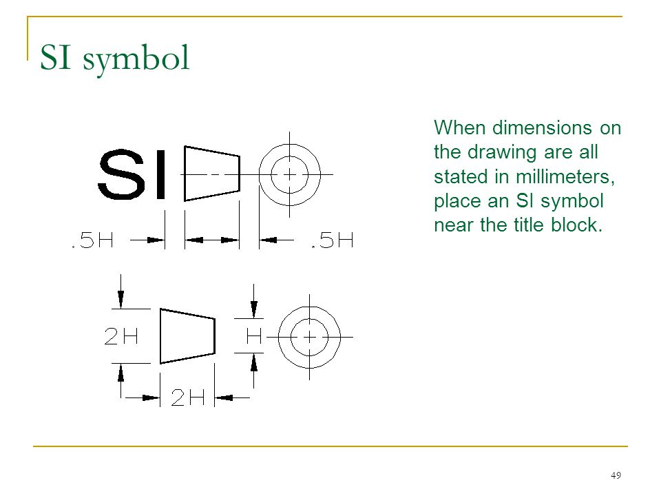 SI symbol When dimensions on the drawing are all stated in millimeters, place an SI symbol near the title block.