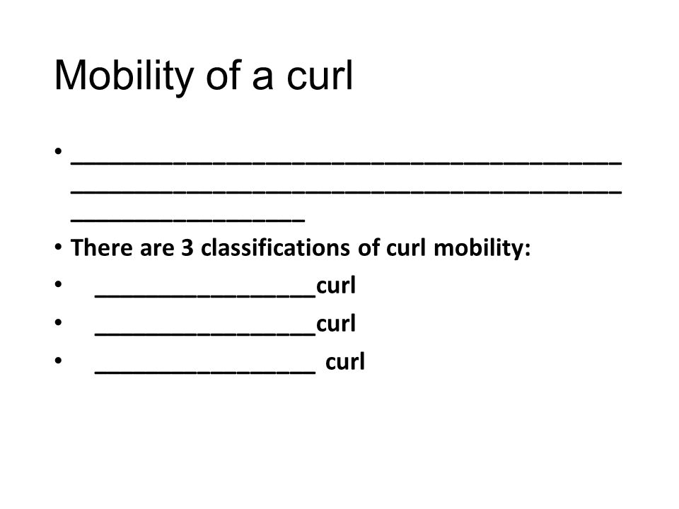 Mobility of a curl __________________________________________ __________________________________________ __________________.