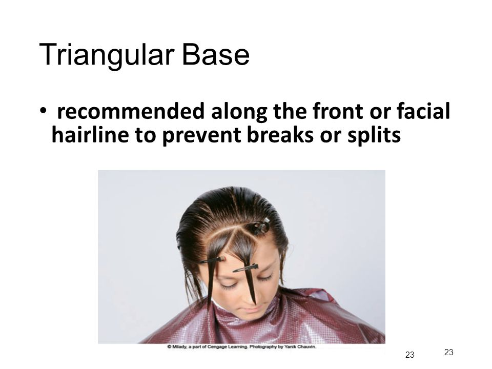 Triangular Base recommended along the front or facial hairline to prevent breaks or splits 23