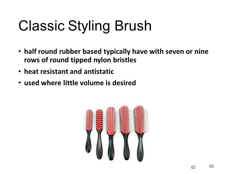 Classic Styling Brush half round rubber based typically have with seven or nine rows of round tipped nylon bristles.