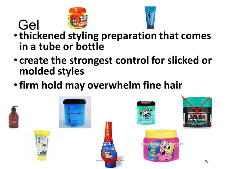 Gel thickened styling preparation that comes in a tube or bottle
