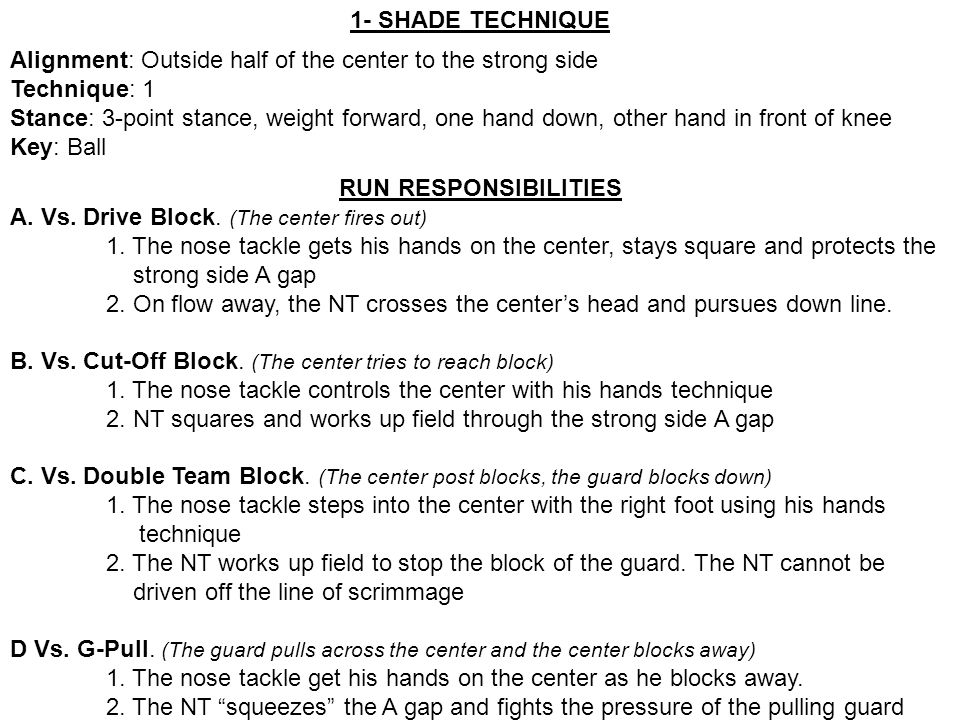 1- SHADE TECHNIQUE Alignment: Outside half of the center to the strong side. Technique: 1.
