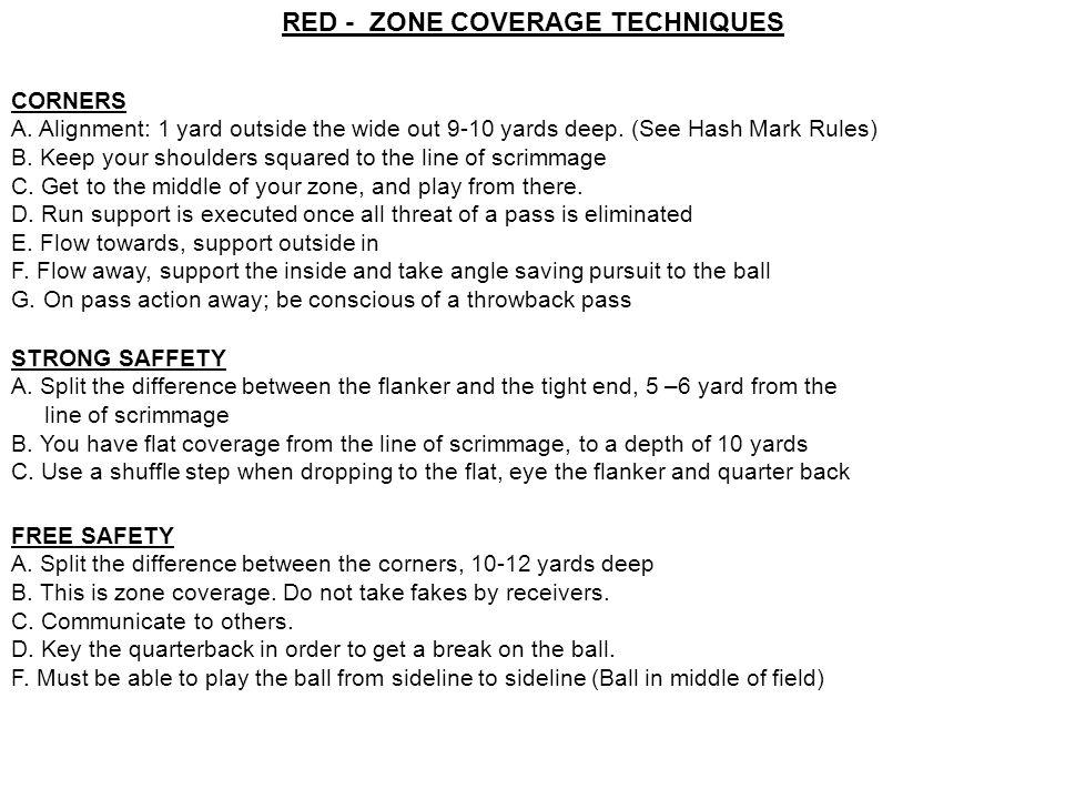 RED - ZONE COVERAGE TECHNIQUES