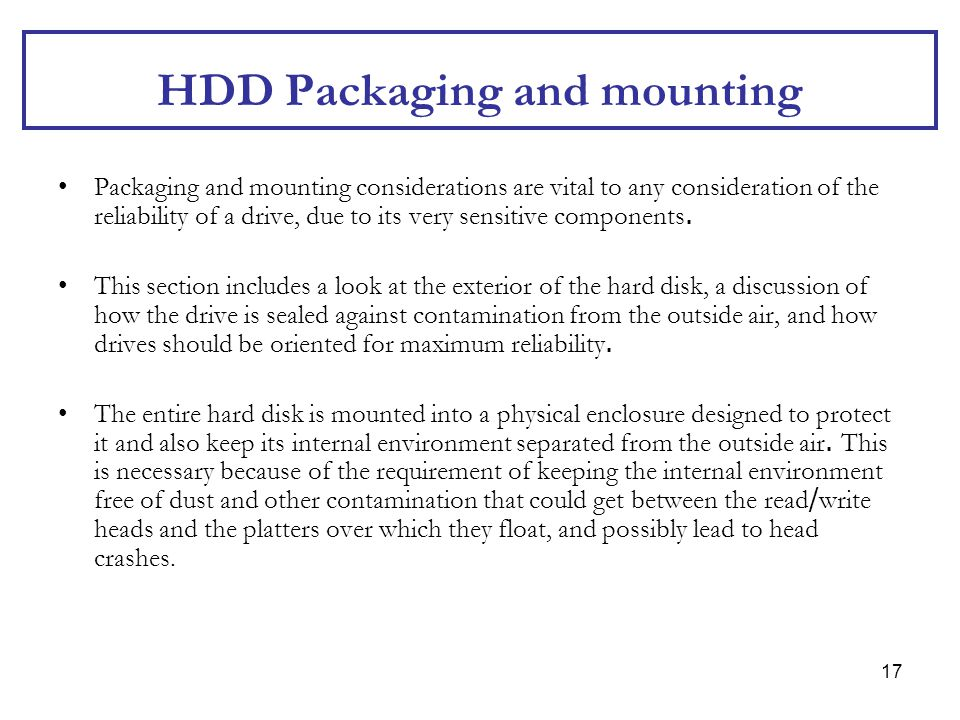 HDD Packaging and mounting