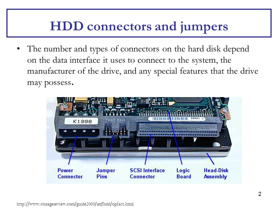 HDD connectors and jumpers