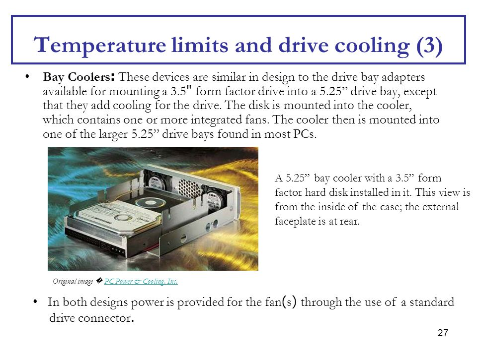Temperature limits and drive cooling (3)