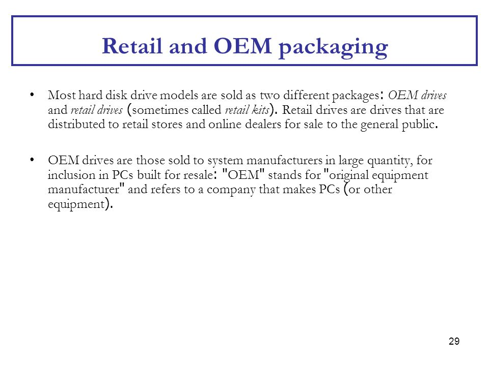 Retail and OEM packaging