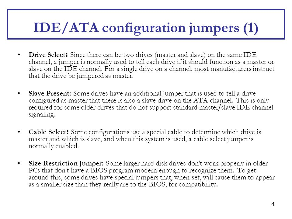IDE/ATA configuration jumpers (1)