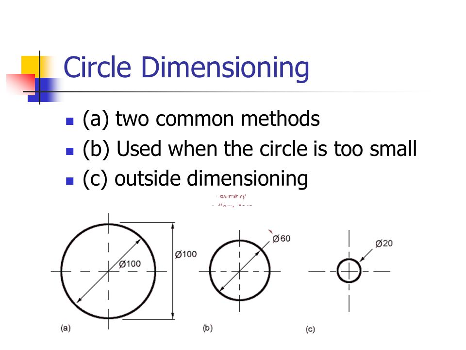 Circle Dimensioning (a) two common methods