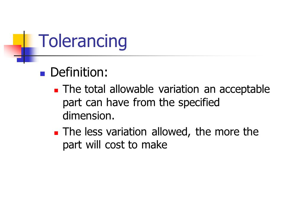 Tolerancing Definition: