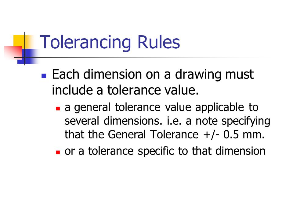 Tolerancing Rules Each dimension on a drawing must include a tolerance value.