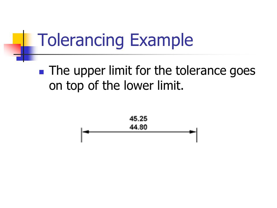 Tolerancing Example The upper limit for the tolerance goes on top of the lower limit.