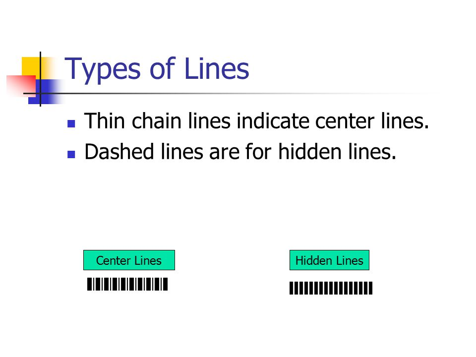 Types of Lines Thin chain lines indicate center lines.