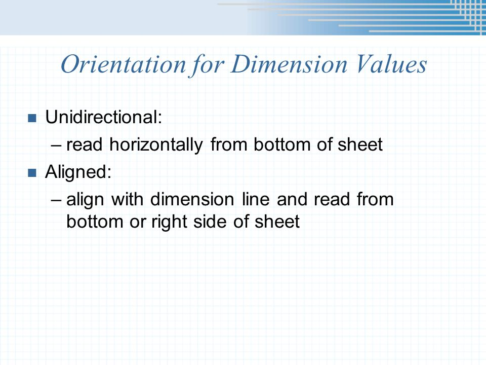 Orientation for Dimension Values
