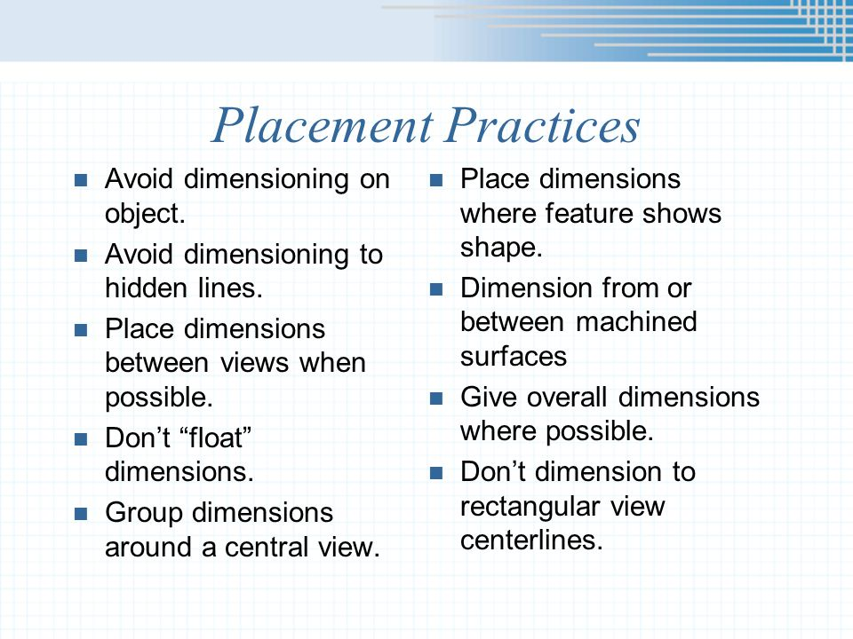 Placement Practices Avoid dimensioning on object.