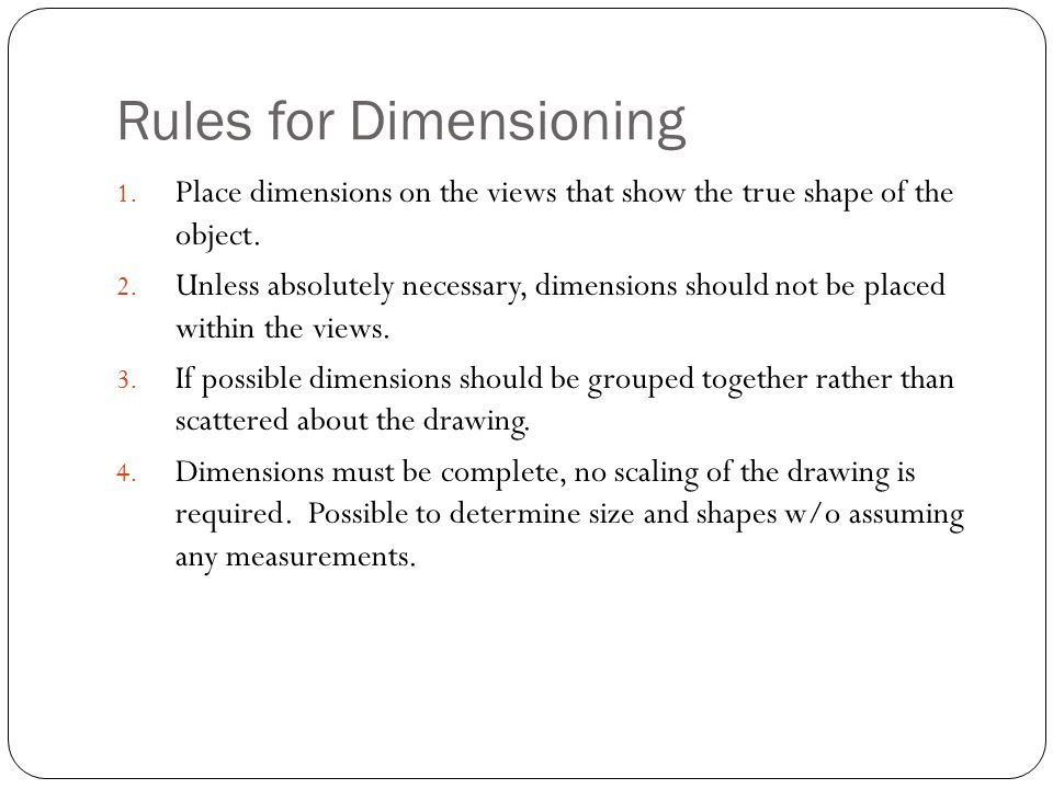 Rules for Dimensioning