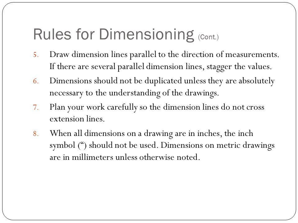 Rules for Dimensioning (Cont.)