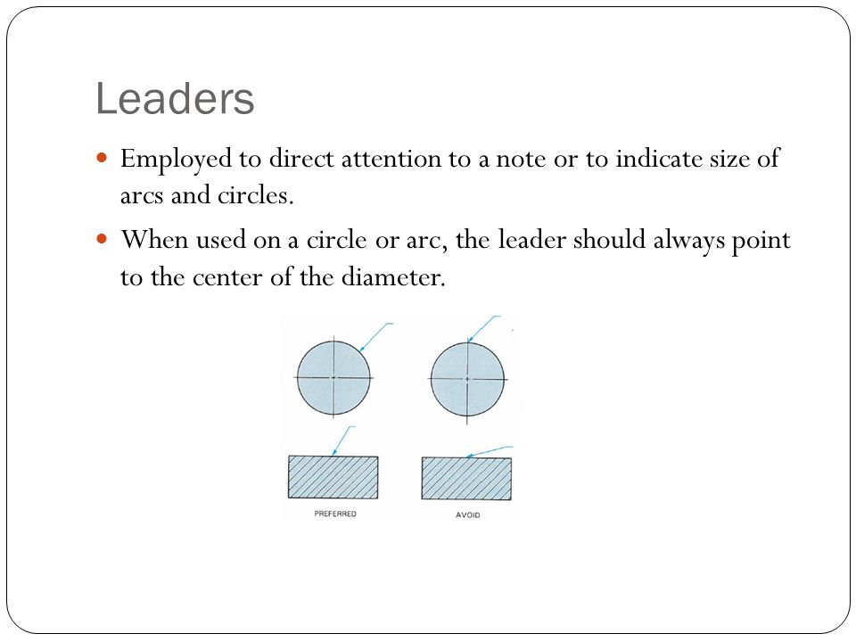 Leaders Employed to direct attention to a note or to indicate size of arcs and circles.