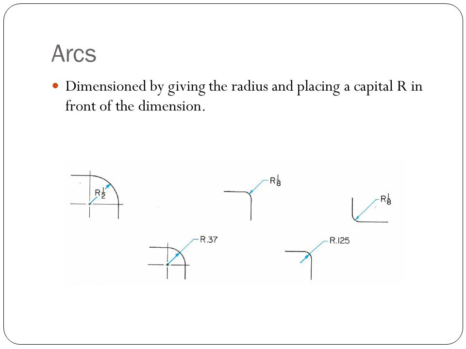 Arcs Dimensioned by giving the radius and placing a capital R in front of the dimension.