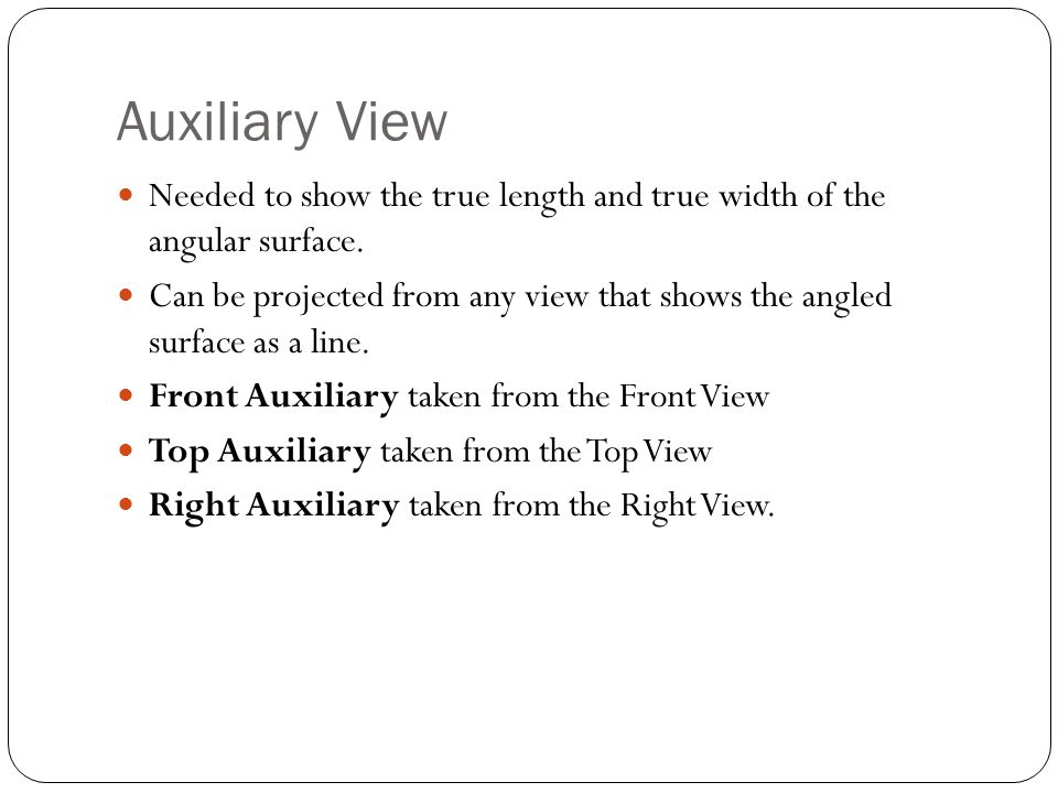 Auxiliary View Needed to show the true length and true width of the angular surface.