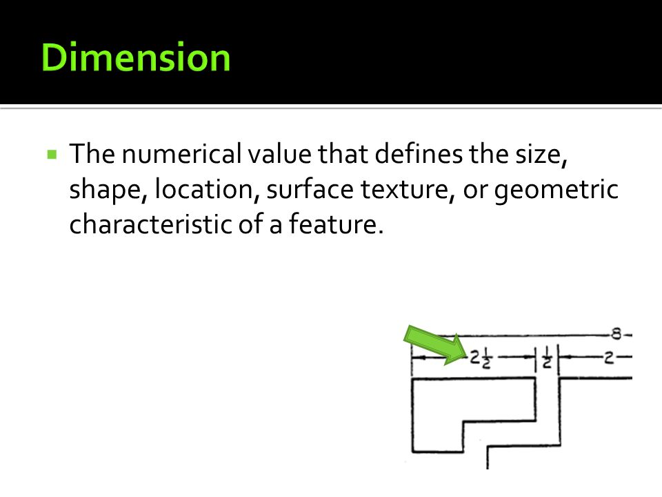 Dimension The numerical value that defines the size, shape, location, surface texture, or geometric characteristic of a feature.