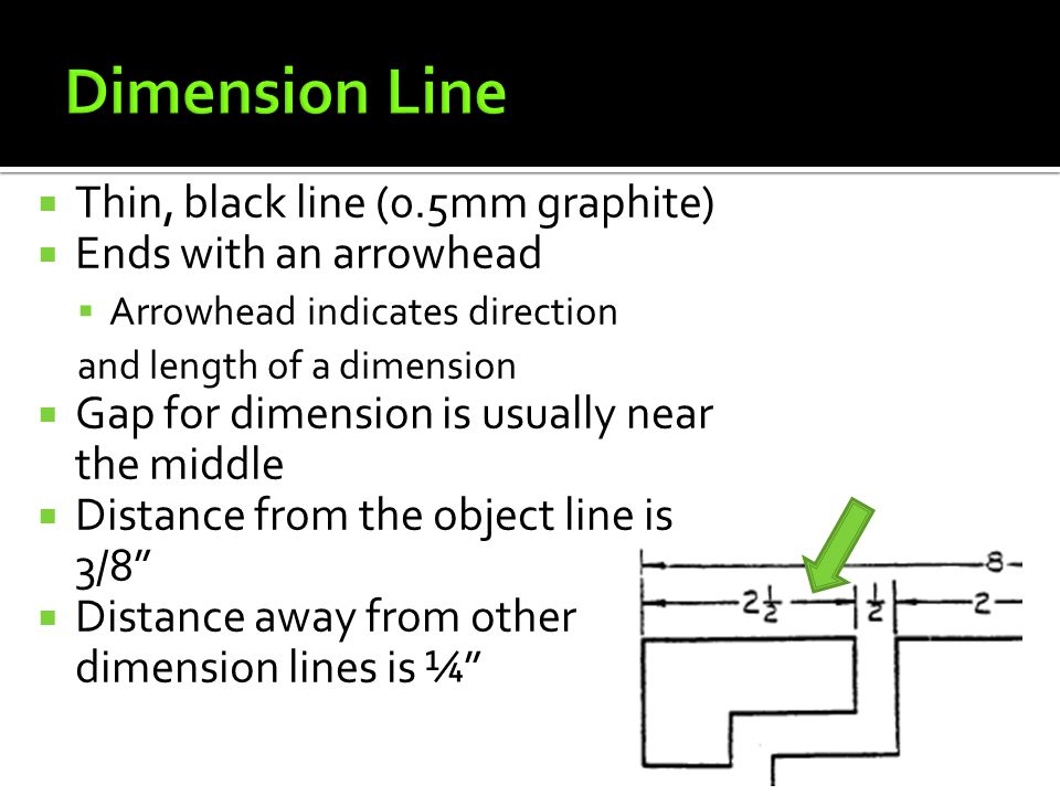 Dimension Line Thin, black line (0.5mm graphite)