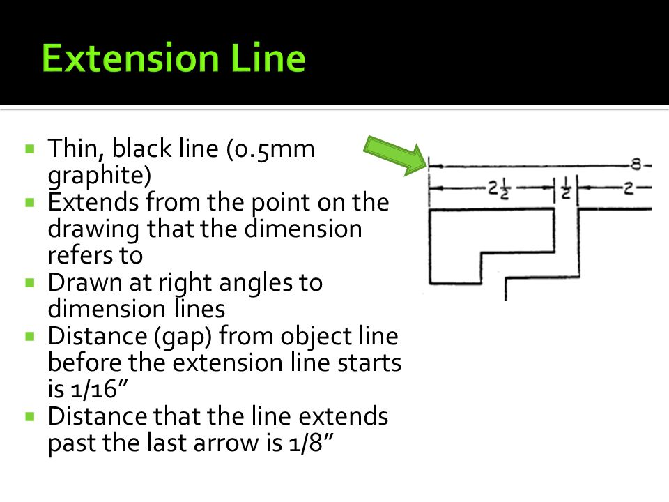 Extension Line Thin, black line (0.5mm graphite)