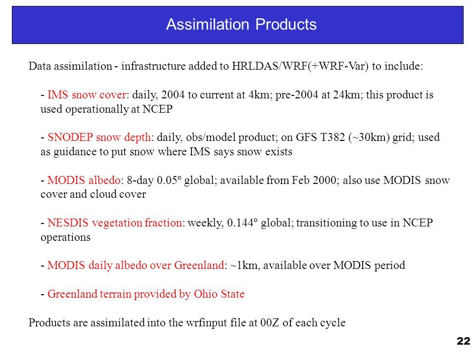 Assimilation Products