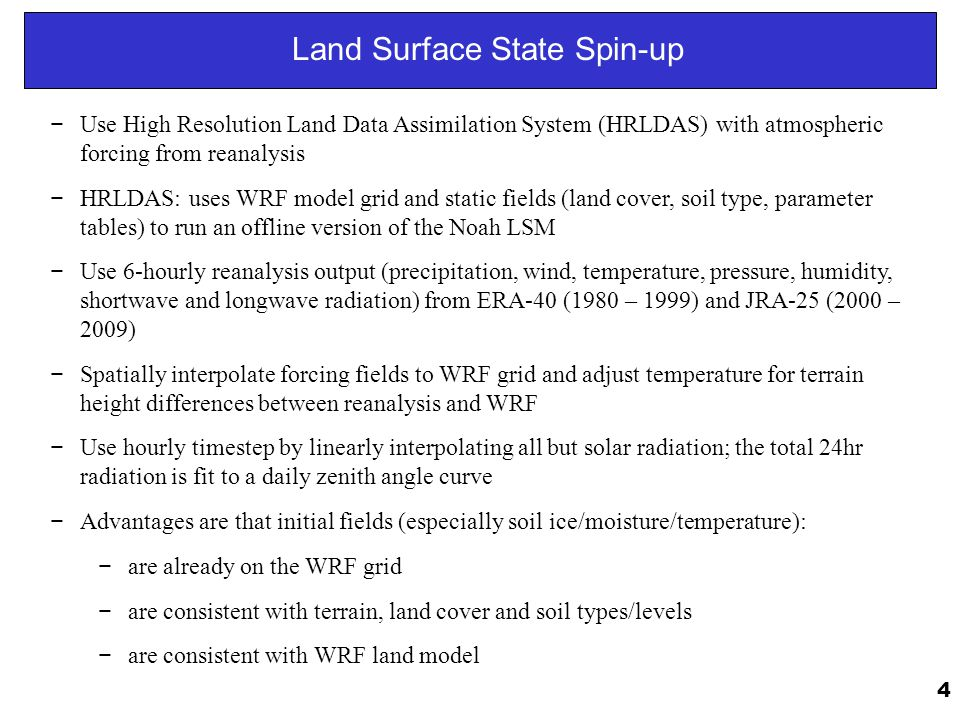 Land Surface State Spin-up