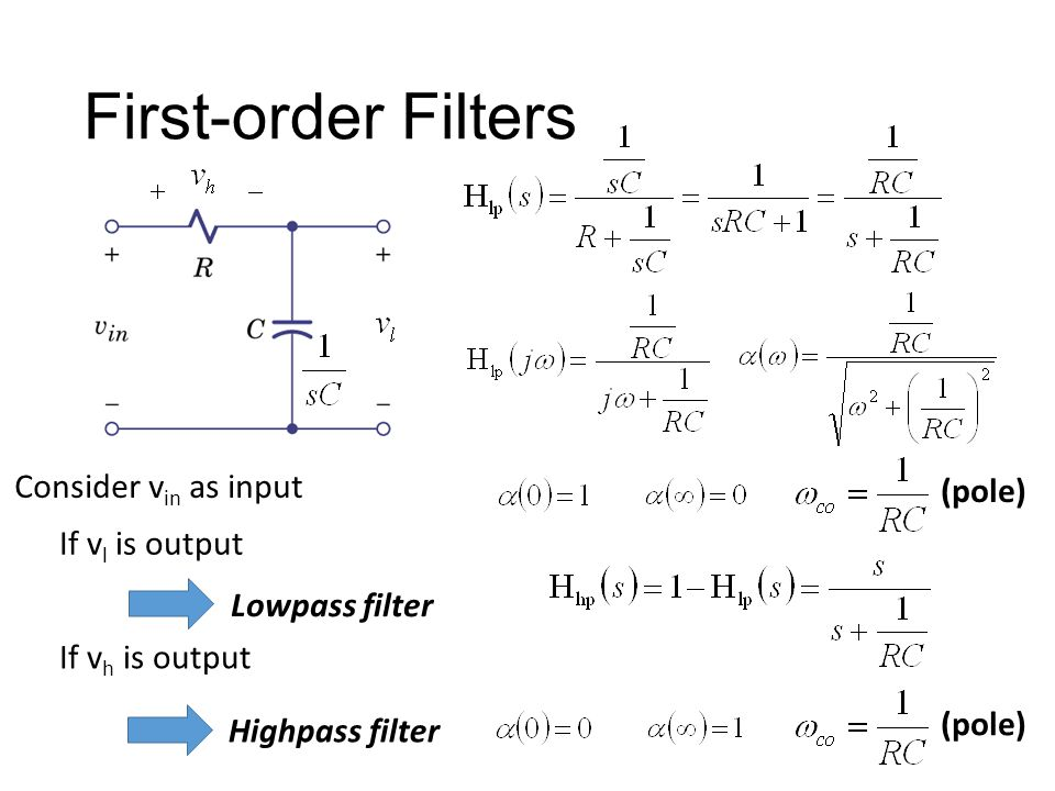 First-order Filters Consider vin as input (pole) If vl is output