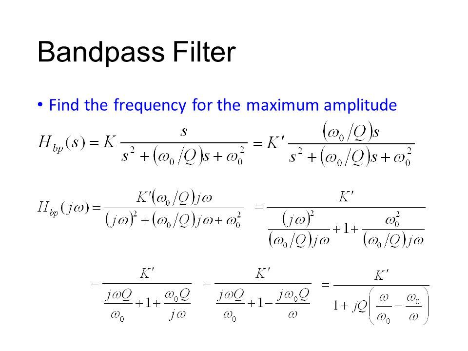 Bandpass Filter Find the frequency for the maximum amplitude