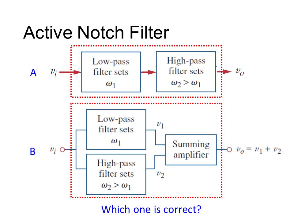 Active Notch Filter A B Which one is correct