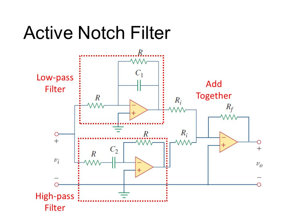 Active Notch Filter Low-pass Filter Add Together High-pass Filter