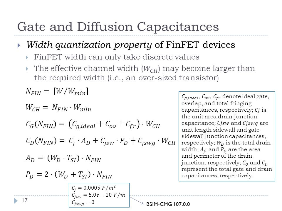 Gate and Diffusion Capacitances