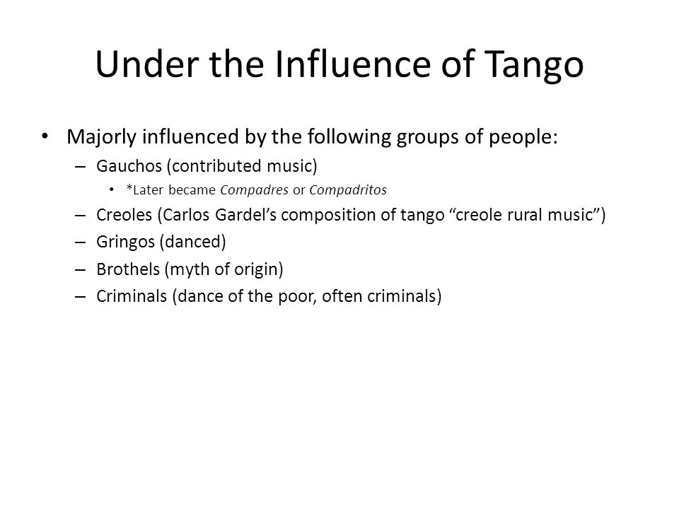 Under the Influence of Tango