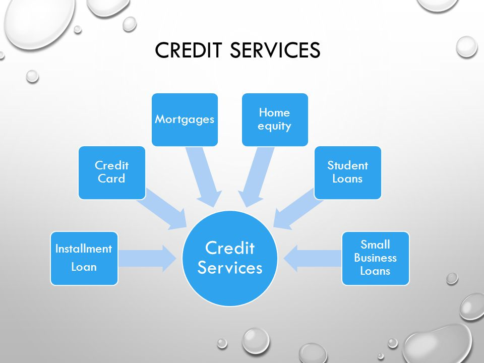 Credit Services Credit Services Installment Loan Credit Card Mortgages