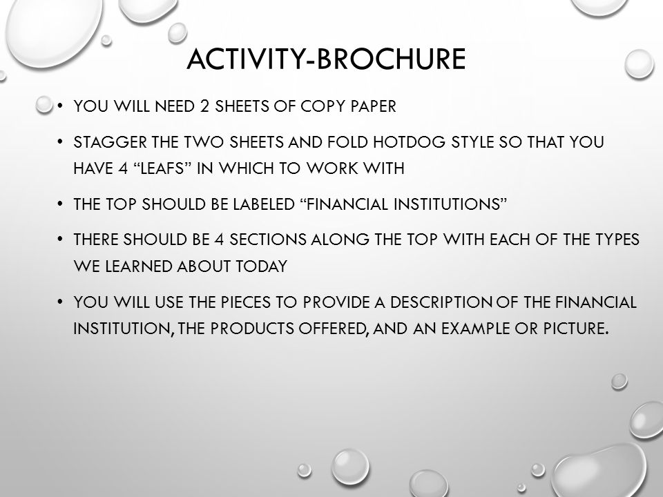 Activity-Brochure You will need 2 sheets of copy paper