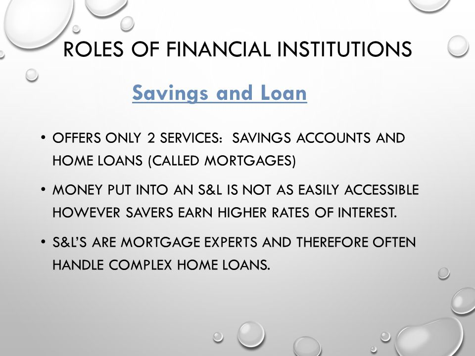 Roles of financial institutions