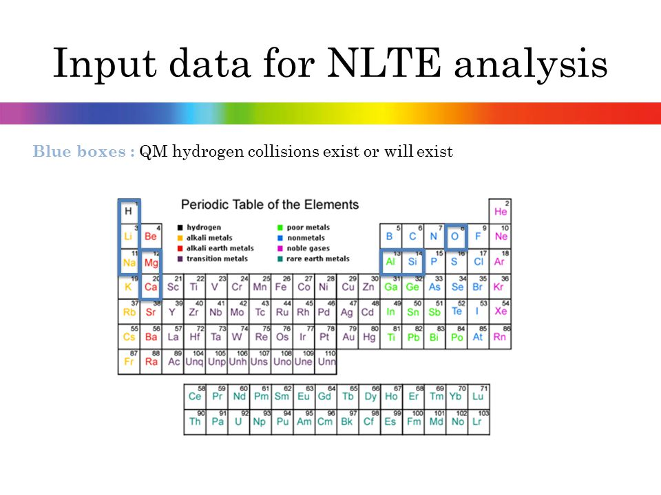 Input data for NLTE analysis