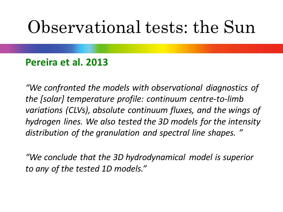Observational tests: the Sun