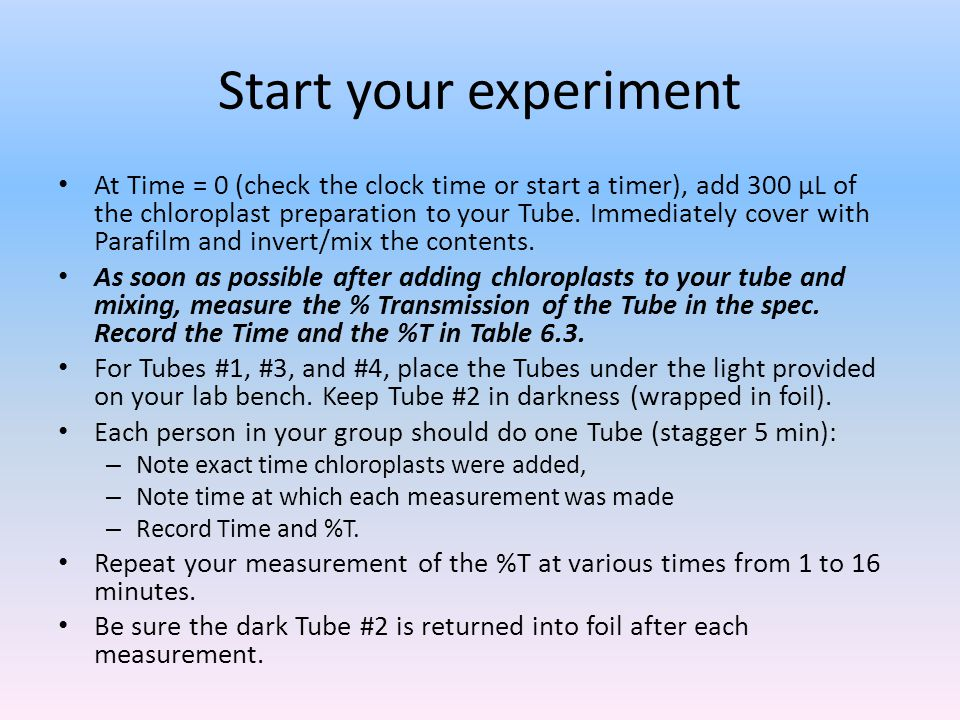 Start your experiment