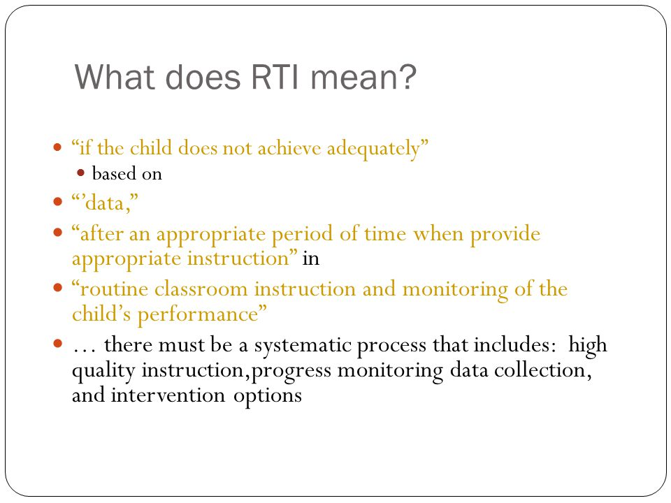 What does RTI mean 'data,