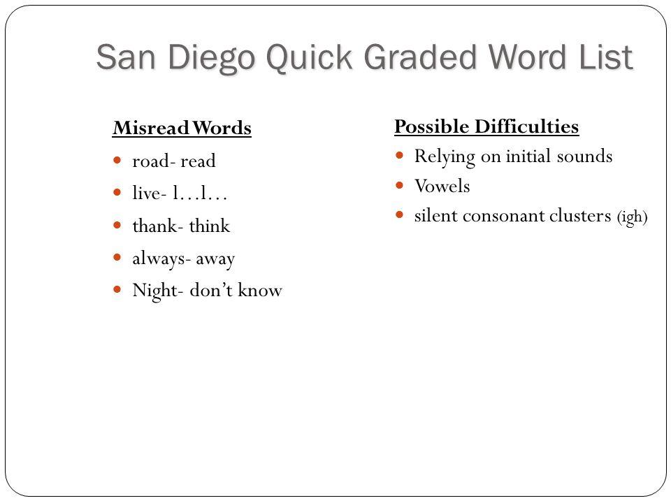 San Diego Quick Graded Word List