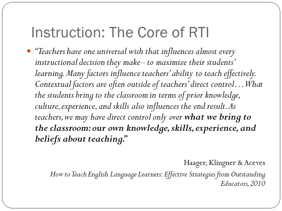 Instruction: The Core of RTI