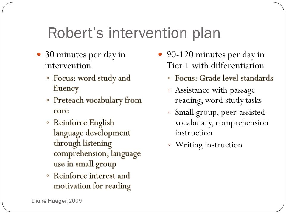 Robert's intervention plan