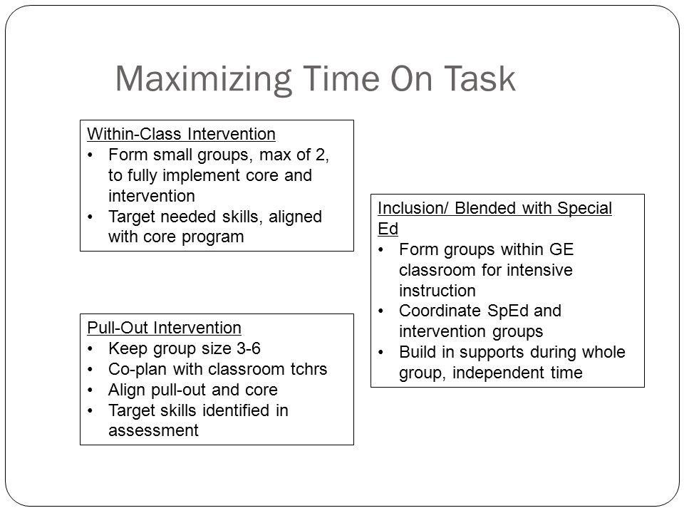 Maximizing Time On Task